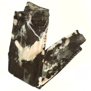 REWASH Black Tie Dyed Lace Up Rocker Jean Pants 5